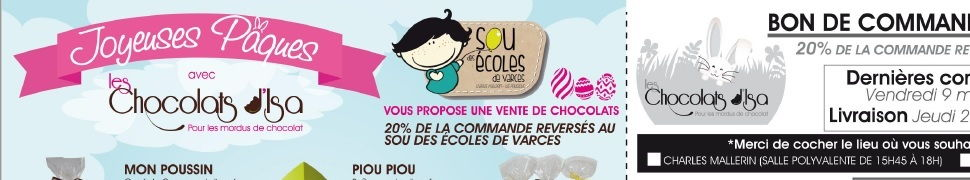 Vente de chocolats jusqu'au 9 mars, bon de commande à télécharger sur le site